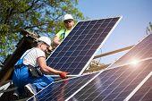 Two professional technicians adjusting heavy solar photo voltaic panels to high steel platform. Exterior solar system installation, alternative renewable green energy generation concept. poster