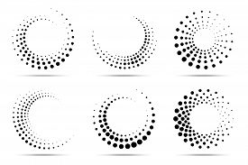 Halftone Circular Dotted Frames Set. Circle Dots Isolated On The White Background. Logo Design Eleme