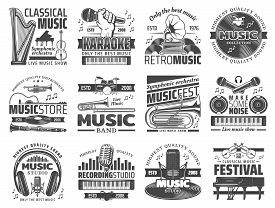 Music Recording Studio Label, Karaoke Bar And Jazz Festival Icons. Vector Music Band Instruments, Cl
