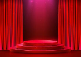 Abstract Round Podium Illuminated With Spotlight And Curtain. Award Ceremony Concept. Stage Backdrop