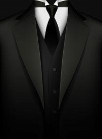 Elegant Black Tuxedo With Tie. Vip Concept