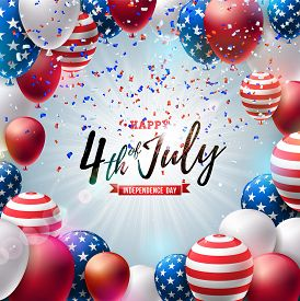 4th Of July Independence Day Of The Usa Vector Illustration. Fourth Of July American National Celebr