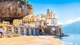Amalfi Cityscape On Coast Line Of Mediterranean Sea, Italy