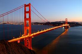 Iconic Golden Gate bridge in San Francisco, California
