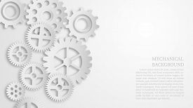 Abstract White Mechanical Gear Background Concept. Paper Cut Style. Depicts Business Leadership And