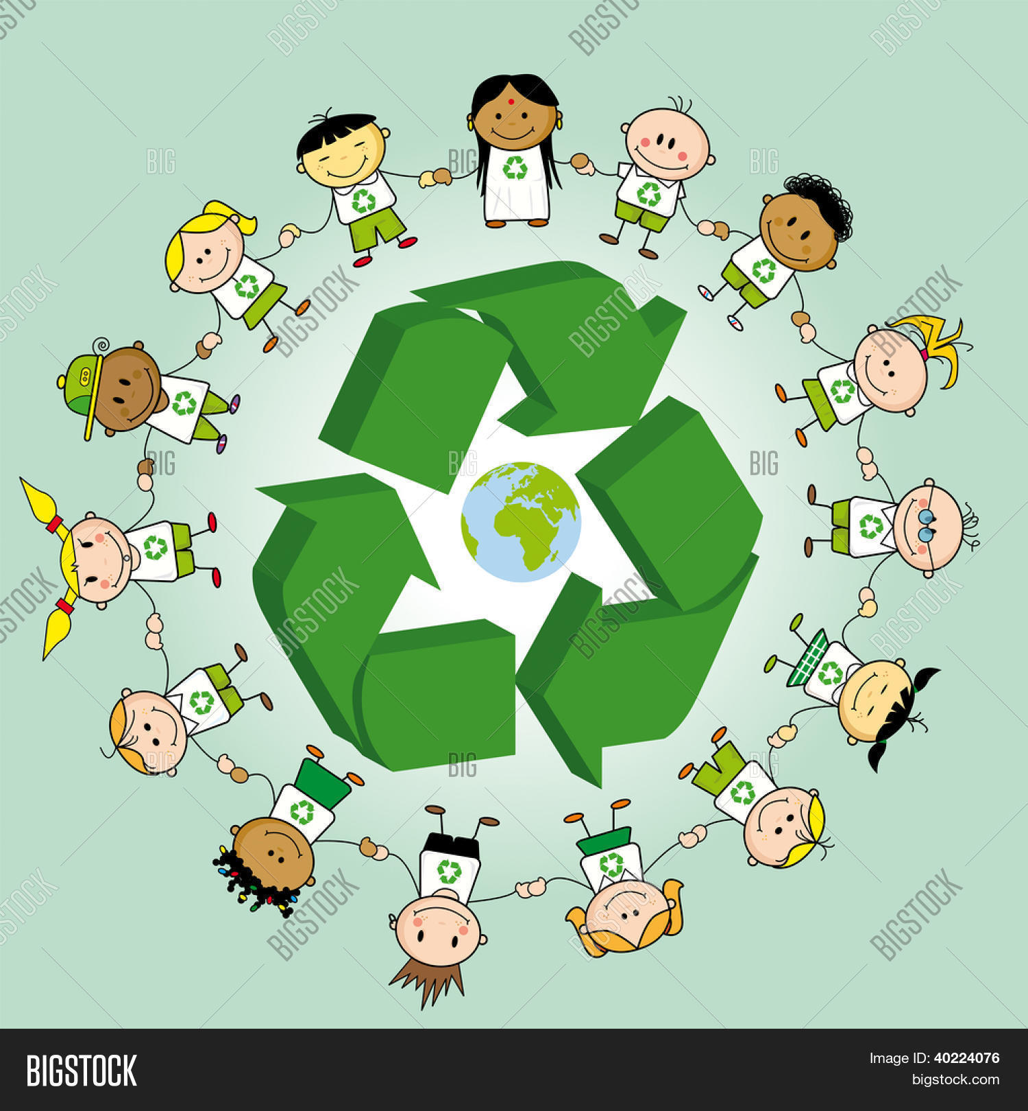 Recycling ring kids holding hands vector photo bigstock recycling ring kids holding hands around a recycle symbol and the earth biocorpaavc Choice Image