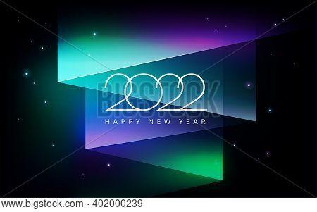 2022 Best New Year Wish Card Design - Background With Aurora Borealis, The Northern Lights Star Nigh