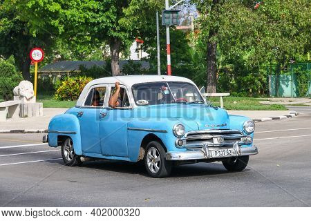 Havana, Cuba - June 6, 2017: Blue Retro Car Dodge Deluxe In The City Street.