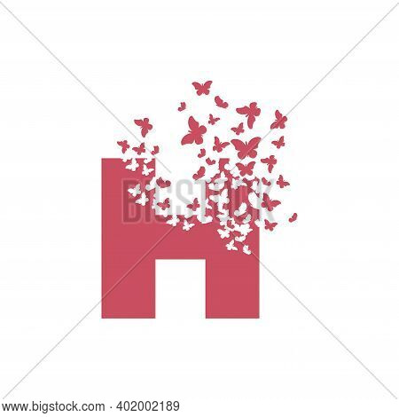 The Letter H Dispersing Into A Cloud Of Butterflies And Moths.