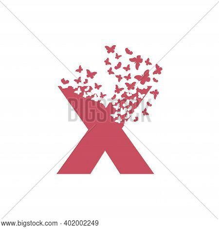 The Letter X Dispersing Into A Cloud Of Butterflies And Moths.