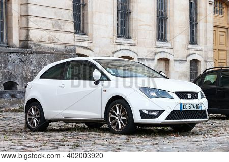 Versailles, France - September 15, 2019: White Compact Car Seat Ibiza In The City Street.