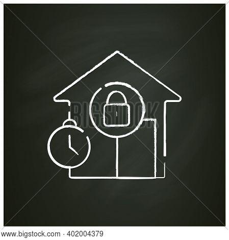 Curfew Chalk Icon. New Normal Concept. Quarantine Rules, Lockdown. Social Isolation. Closed Public P