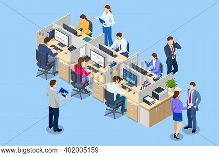 Isometric Team At Work. Business People In Smart Casual Wear Working Together In Creative Office. Of