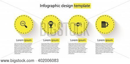 Set Search 5g Network, Location, And Sim Card Setting. Business Infographic Template. Vector