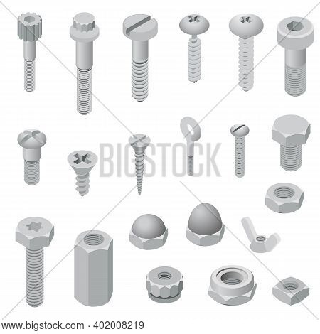 Screw-bolt Icons Set. Isometric Set Of Screw-bolt Vector Icons For Web Design Isolated On White Back