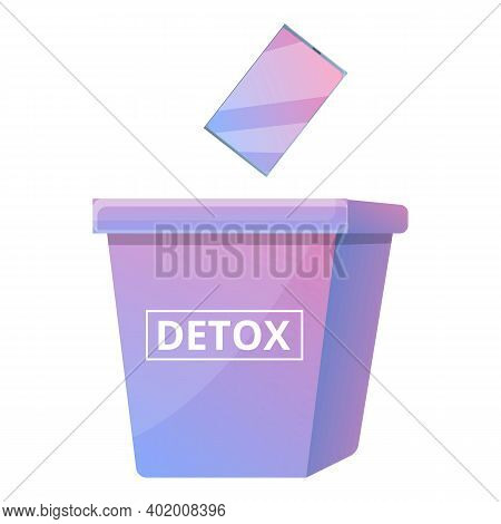 Digital Detoxing Box Icon. Cartoon Of Digital Detoxing Box Vector Icon For Web Design Isolated On Wh