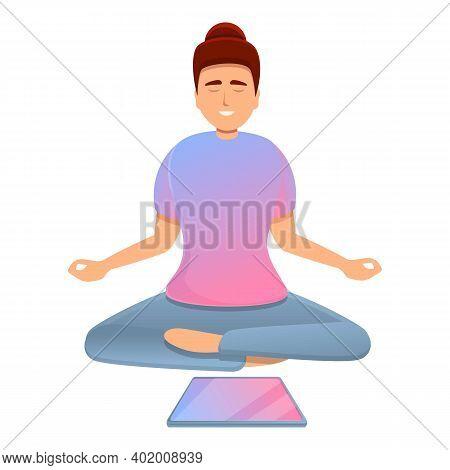 Digital Detoxing Meditation Icon. Cartoon Of Digital Detoxing Meditation Vector Icon For Web Design