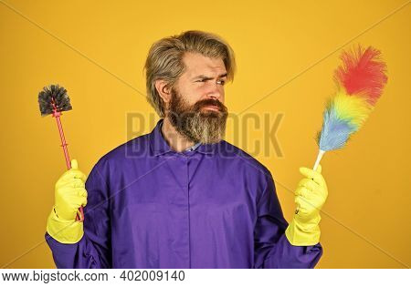Cleaning Apartment. Hipster Hold Cleaning Tool. Cleaning Concept. Man Use Pp Duster. Dust Allergy. H