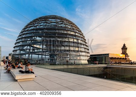 Berlin, Germany - July 28, 2019: View Of The Dome Of Reichstag Building, Seat Of The German Parliame