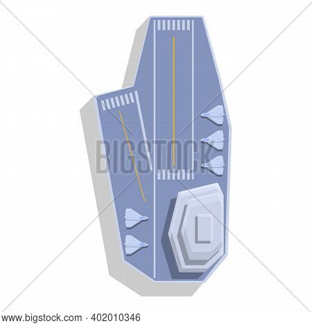Aircraft Carrier Top View Icon. Cartoon Of Aircraft Carrier Top View Vector Icon For Web Design Isol