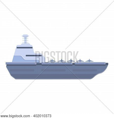Aircraft Carrier Force Icon. Cartoon Of Aircraft Carrier Force Vector Icon For Web Design Isolated O