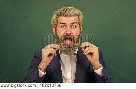 Bring Inspiration Into Classroom. Bearded Men Got Inspiration. Inspired Teacher At Green Chalkboard.
