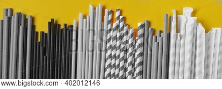 Drinking Tubes Made Of Paper And Cornstarch, Biodegradable Material On A Yellow Trend Color 2021 Bac