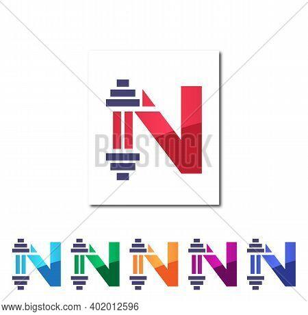 N Alphabet Fitness Creative Logo Design Concept
