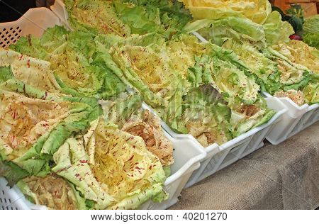 Boxes With Seasonal Vegetables On Sale From Greengrocers Of The Market