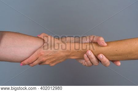 Support. Concept Of Salvation. Solidarity, Compassion, And Charity. Helping Hand. Two Hands. Care An