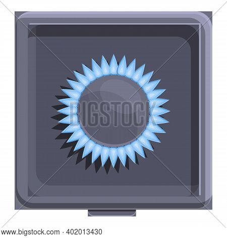 Burning Gas Stove Icon. Cartoon Of Burning Gas Stove Vector Icon For Web Design Isolated On White Ba