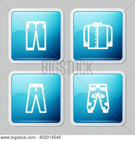 Set Line Pants, T-shirt, And Camouflage Cargo Pants Icon. Vector