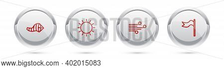 Set Line Cone Meteorology Windsock Wind Vane, Sun, Wind And Meteorology. Silver Circle Button. Vecto