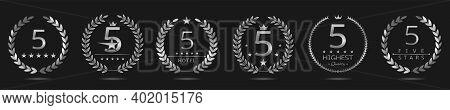 Five Star Badge Set. Silver Laurel Wreath Set, Best Hotel Symbol. 5 Stars