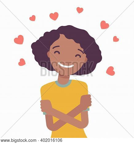 Love Yourself, Black Woman In Peace, Comfort With Herself. Girl In Positive Thinking, Feeling Health