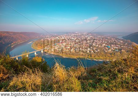 Amazing Urban Nature Landscape. Fantastic Panoramic Aerial View On Zalishchyky City And The Dniester