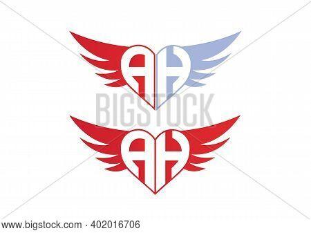 Ah Valentine Love Alphabet Logo Design Concept