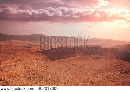 Mountain Nature Landscape. Desert In Early Morning. Beautiful Sunrise In Mountains. Judaean Desert.