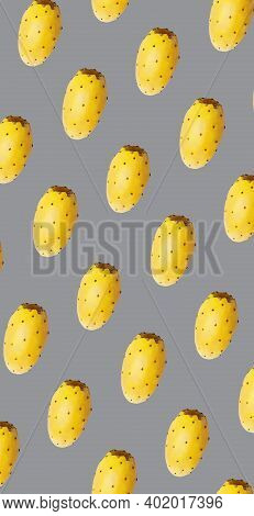 Whole Opuntia Fruit Pattern On Ultimate Gray Color Background. Minimal Flat Lay Food Texture
