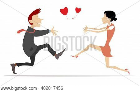 Lovers Man And Woman Run Towards One Another Illustration. Heart Symbol. Happy Man And Woman Hurry T