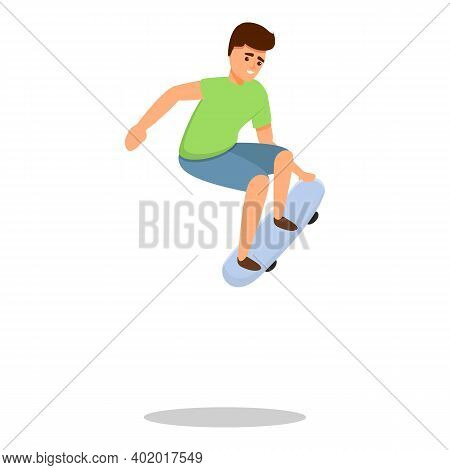 Freestyle Jump Skateboarding Icon. Cartoon Of Freestyle Jump Skateboarding Vector Icon For Web Desig