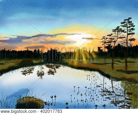 A Picturesque Sunset Over A Forest Lake Next To A Swamp. Landscape With Water And Silhouettes Of Pin