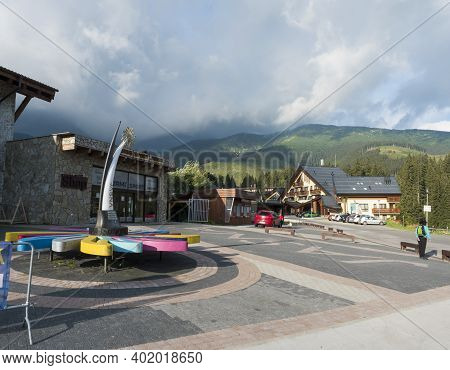 Demanovska Dolina, Jasna, Slovakia August 29, 2020: View On Street With Mountin Cottage And Hotels I