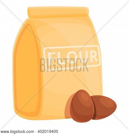 Dough Flour Package Icon. Cartoon Of Dough Flour Package Vector Icon For Web Design Isolated On Whit