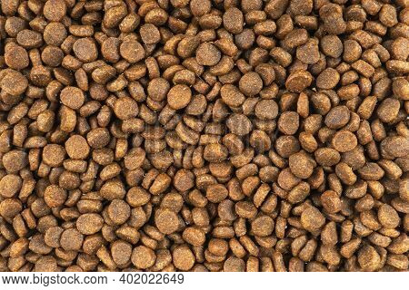 Dry Pet Food Texture Background. Food For Cats And Dogs Pattern. Pile Of Granulated Animal Feeds. Gr