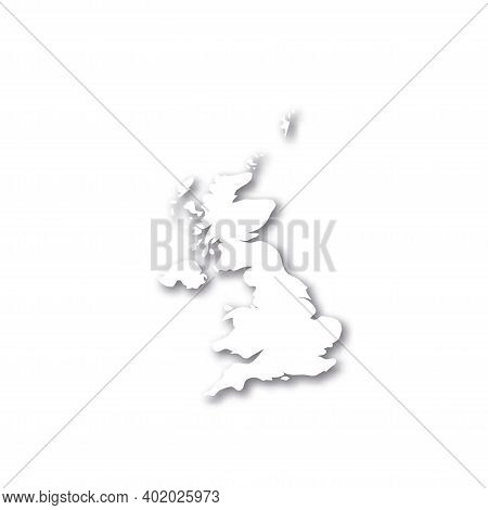 United Kingdom Of Great Britain And Northern Ireland, Uk - White 3d Silhouette Map Of Country Area W
