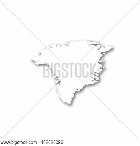 Greenland - White 3d Silhouette Map Of Country Area With Dropped Shadow On White Background. Simple
