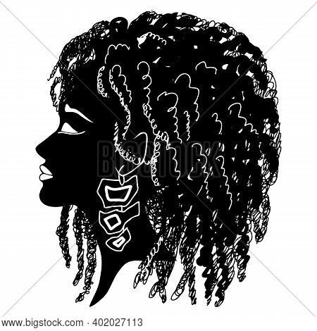 Silhouette Of Womans Profile With Curly Hair. Black And White Isolated Vector Illustration