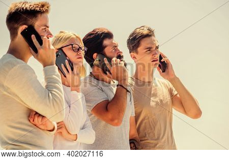 Social Media. Men And Girl Speak On Phone. Group Of Four People. Corporate Team Group. Group Of Peop