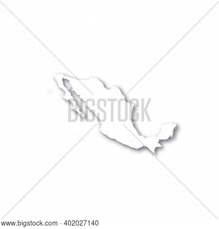 Xxx- White 3d Silhouette Map Of Country Area With Dropped Shadow On White Background. Simple Flat Ve